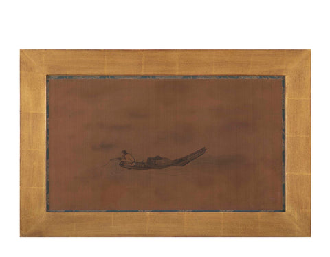 Framed Scroll Painting on Silk of a Fisherman in a Boat