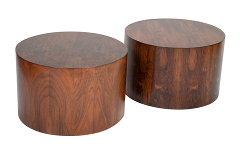 Pair of Rosewood Veneer Drum Tables Attributed to Harvey Probber