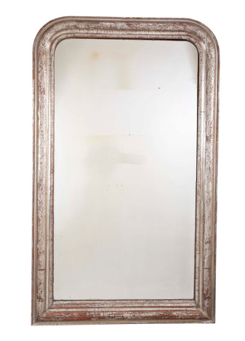 French Louis Philippe White Gold Framed Mirror with Carved Scrafitto Design