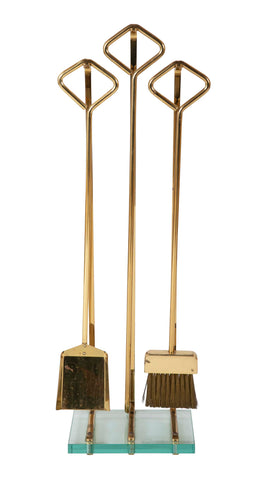 A Set of Fontana Arte Brass & Glass Fire Tools on Stand