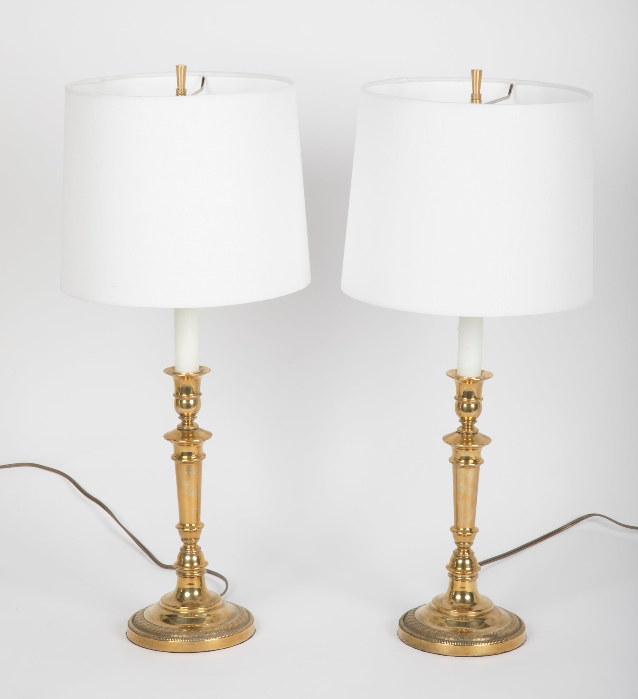 Marvelous Pair Of Empire Style Brass Candlestick Lamps