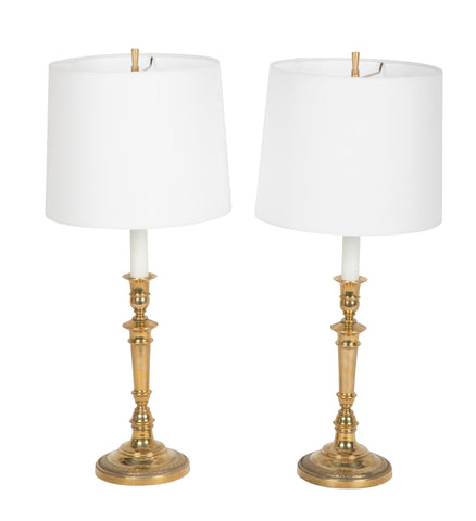 Pair of Empire Style Brass Candlestick Lamps