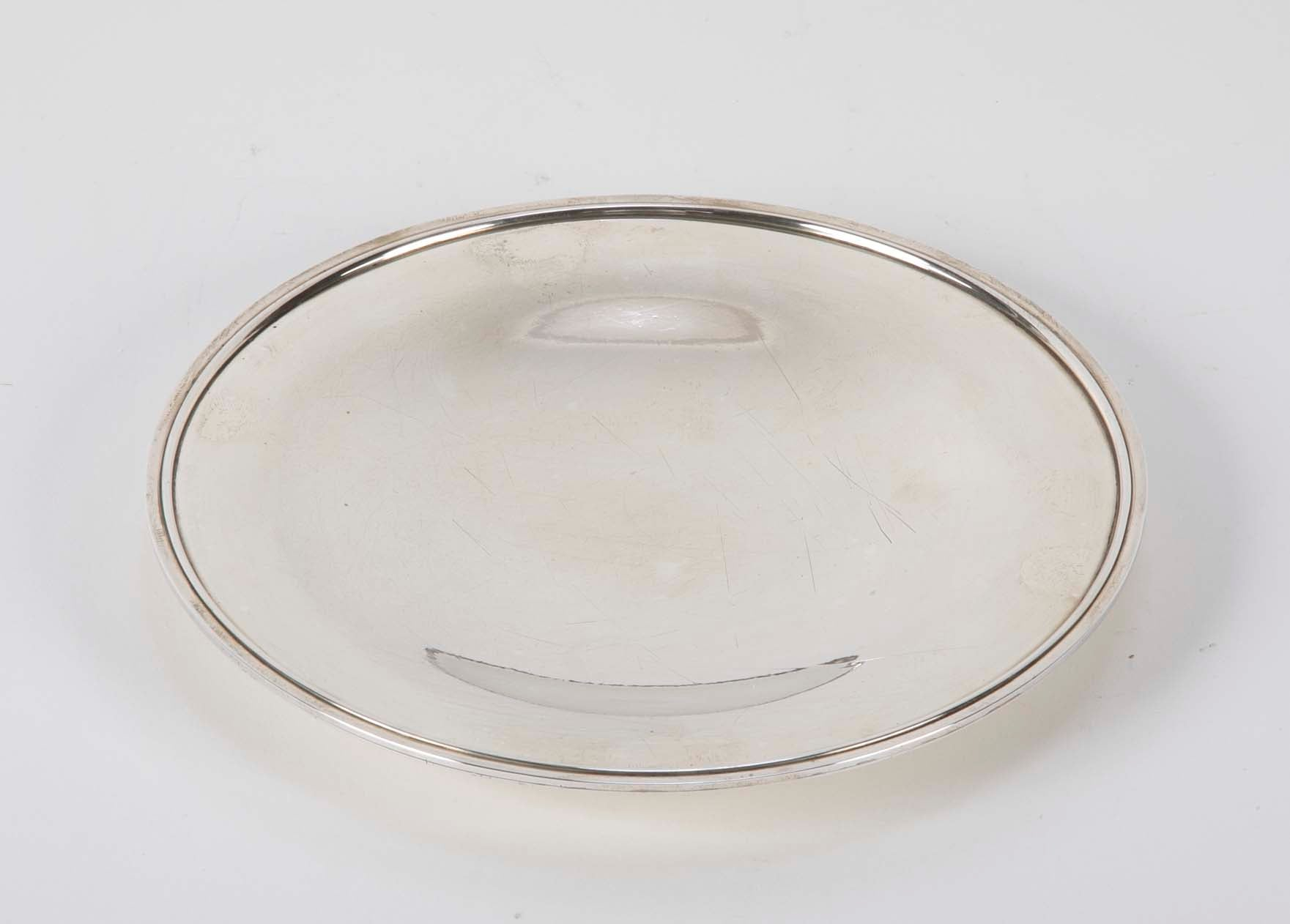 A Japanese Showa Sterling Silver Plate by Kuyeda
