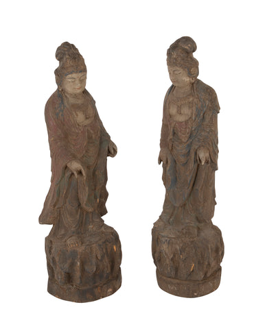 A Pair of Mid 19th Century Chinese Wood Carved Guanyins