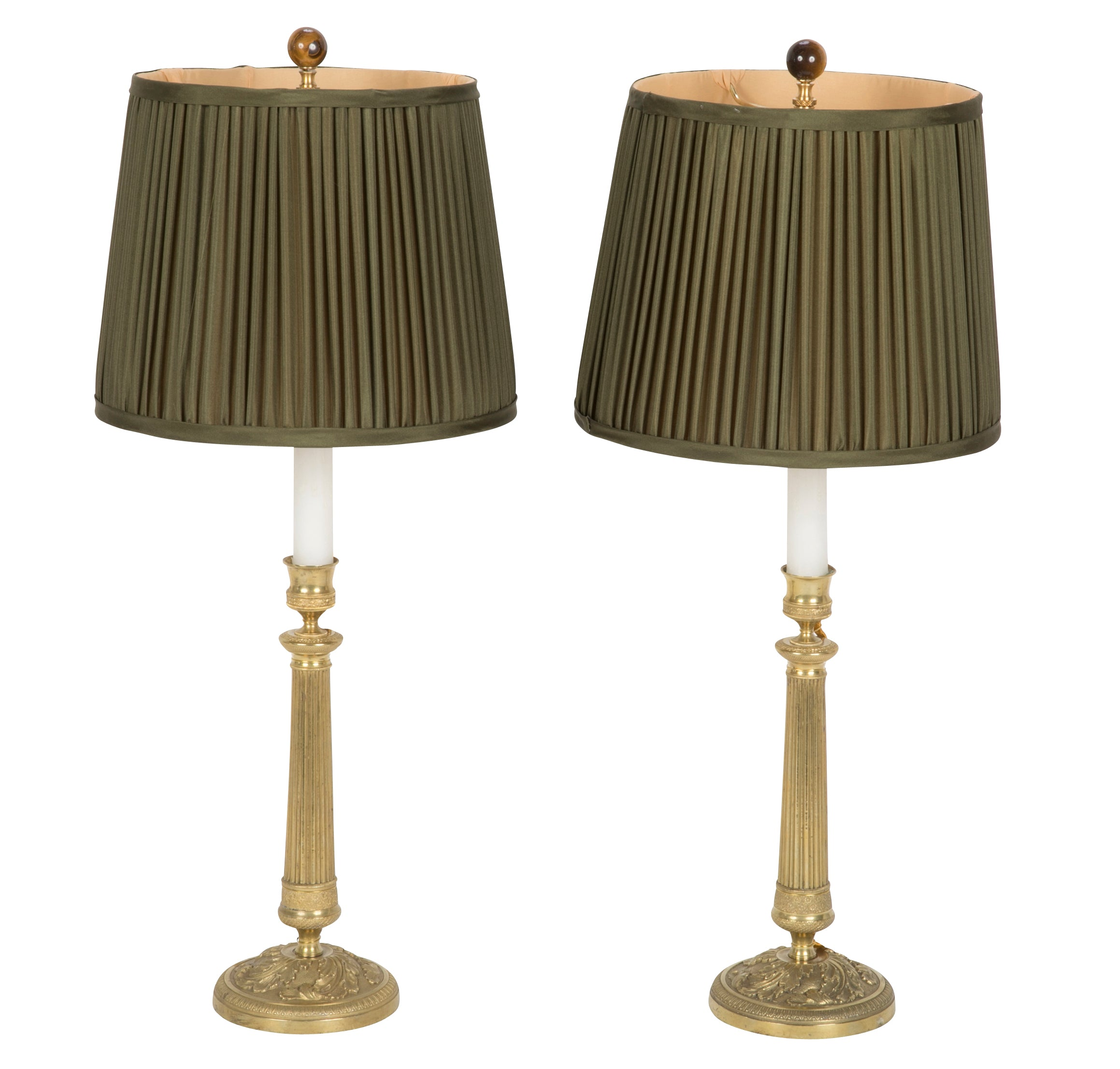 High Quality A Pair Of Louis XVI Style Candlesticks Now Electrified As Lamps