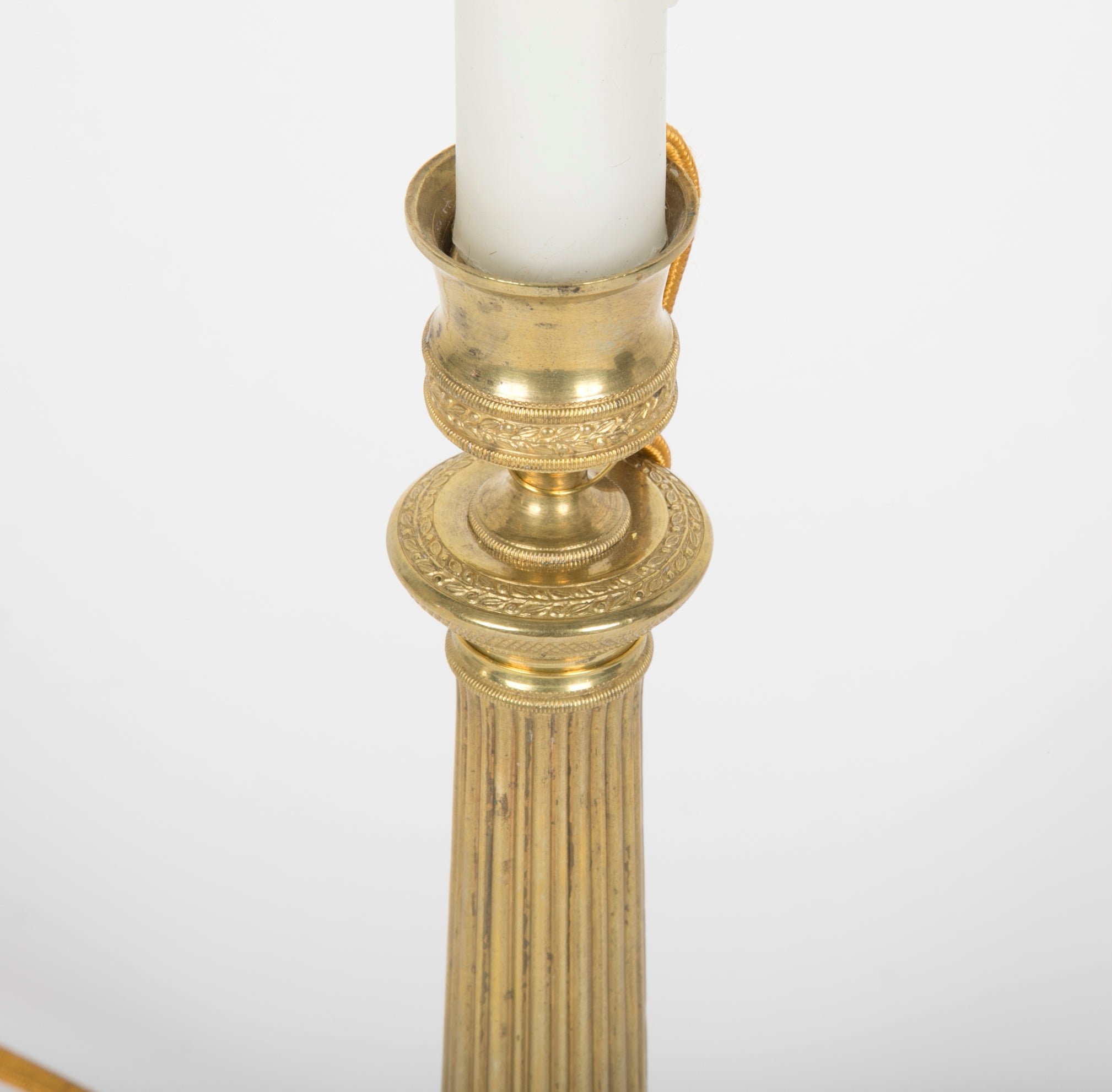 A Pair of Louis XVI Style Candlesticks now Electrified as Lamps