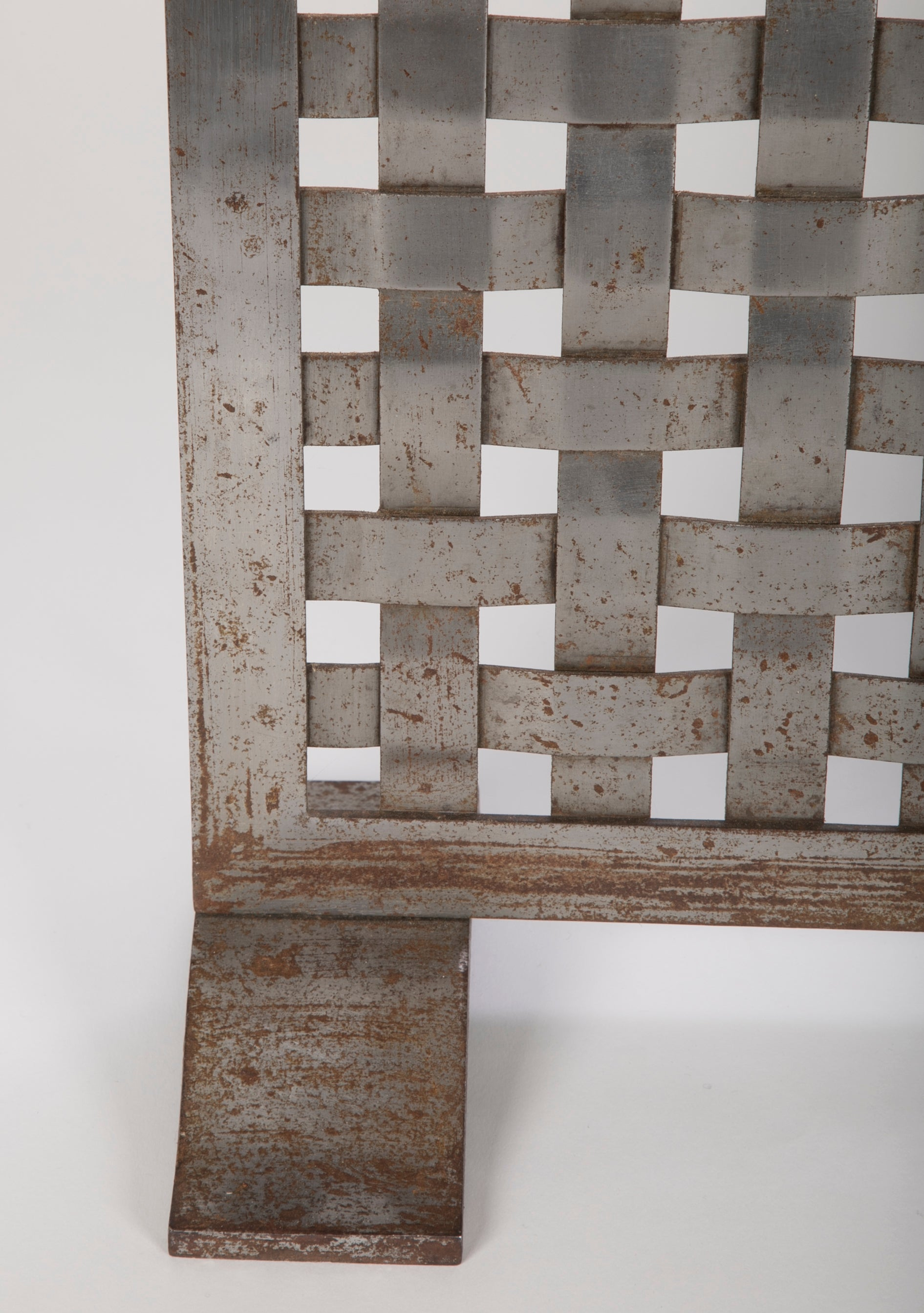 A Woven Steel Arts and Crafts Fire Screen
