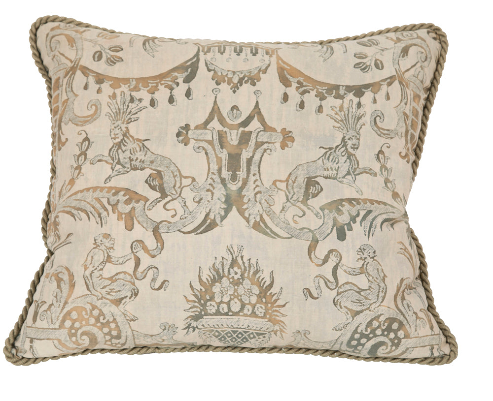 A Fortuny Pillow with Lions & Monkeys