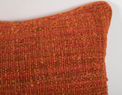 Pair of Orange Raw Silk Pillows