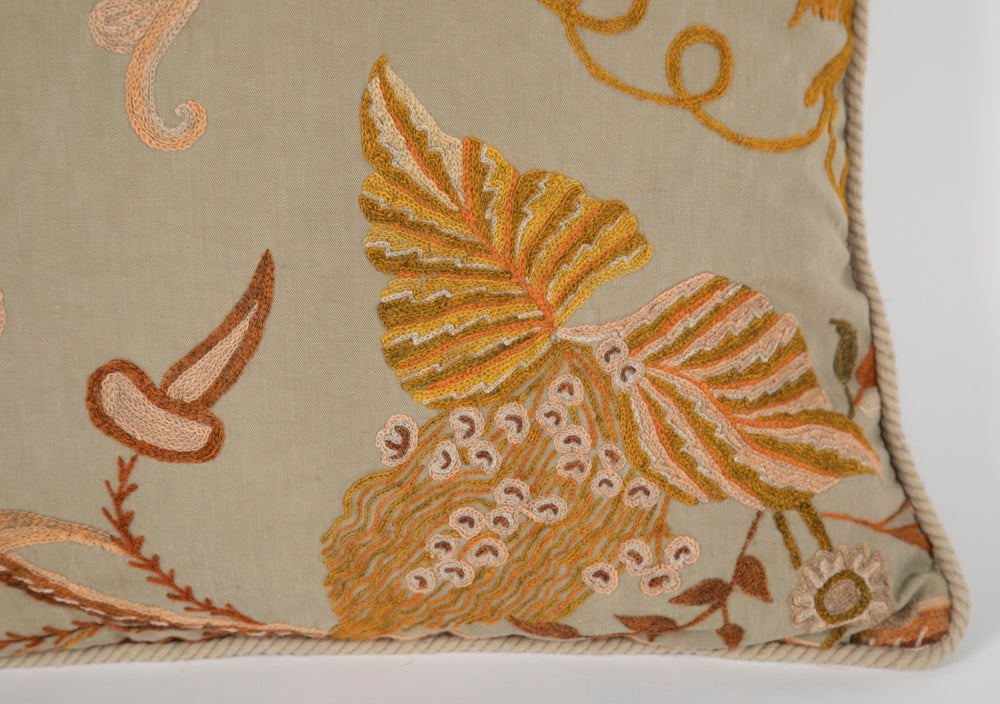 Crewel Work on Linen Pillow
