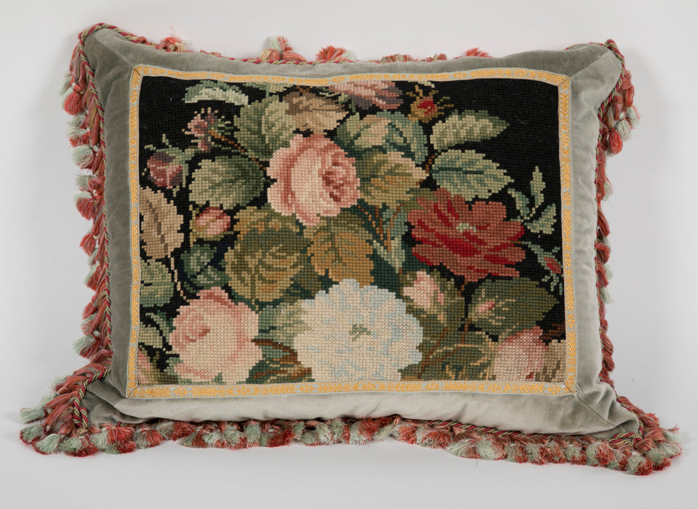 Victorian Needlework Pillow with Silk Backing