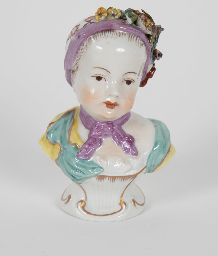 18th Century German Porcelain Bust of a Young Girl