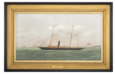 "Ship Portrait of 125' Steam/Sail Vessel ""Avenel"" by Thomas Willis ( American. 1850 - 1925 )"