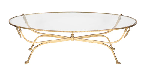 Mid-Century Oval Glass Top Brass Low Table