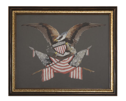 Late 19th Century Watercolor of an Eagle Clutching Shield & American Flags