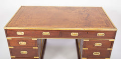 English Leather Top Three Part Pedestal Campaign Desk