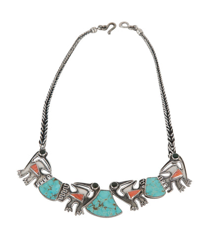 Ecuadorean Sterling Silver Necklace with Turquoise & Coral