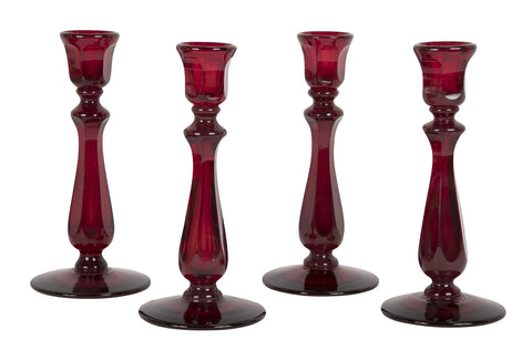 Set of Ruby Glass Candlesticks