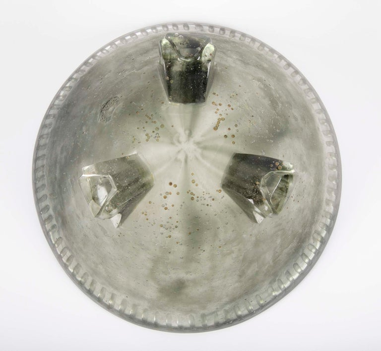 Large Smokey Grey Pate De Verre Glass Footed Bowl by Francois Decorchemont