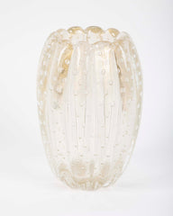 A Gold Flecked and Ribbed Clear Glass Vase by Ercole Barovier for Barovier & Toso