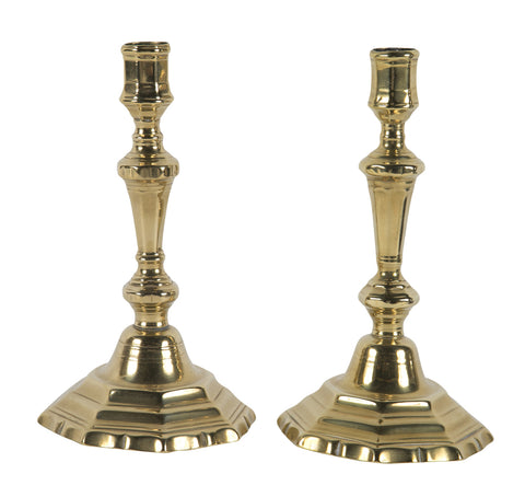 Near pair of French 18th Century Brass Candlesticks