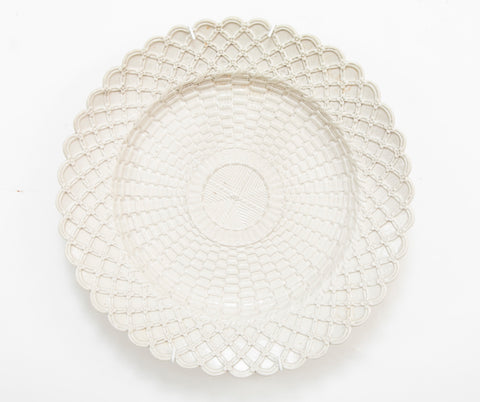 A Basketweave Salt Glazed English Staffordshire Plate