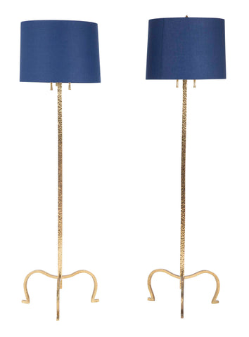 Pair of Gilt Brass Floor Lamps in the Manner of Tommi Parzinger