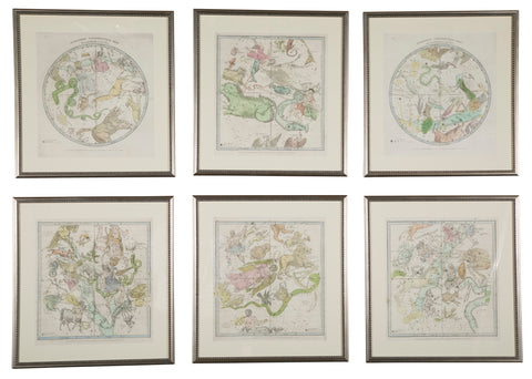 Set of Six Prints from Elijah H. Burritt's Atlas, Geography of the Heavens