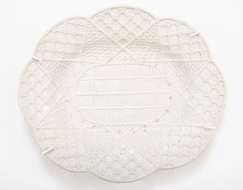 Staffordshire Press-Molded Salt-Glazed Lobed Oval Plate