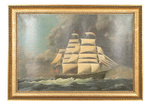 "19th Century Oil on Canvas of American Clipper Ship ""Seahorse"""