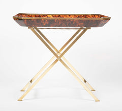 A Brass & Faux Tortoise Shell Tray Table in the Manner of Maison Jansen