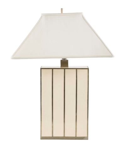 Robert Kuo Table Lamp of Ivory Colored Panels & Brass Banding