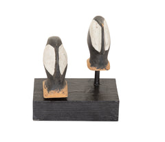 A Pair of Carved Wood Merganser Heads from Chesapeake Bay Area