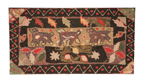 Early 20th Century American Hooked Rug Depicting Three Trotting Dogs
