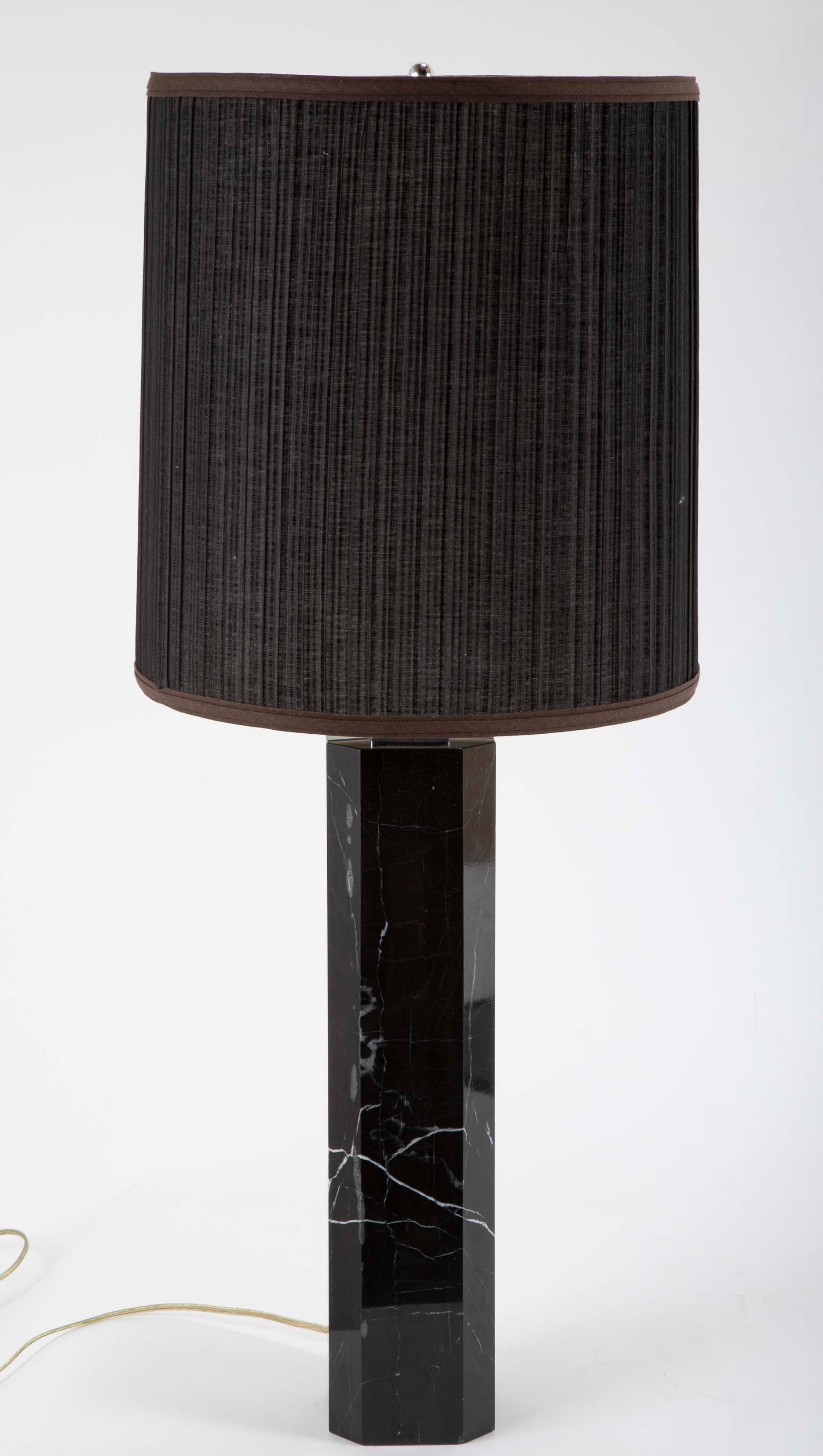 Black Veined Marble Lamp Attributed to T.H. Robsjohn-Gibbings