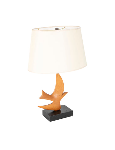 MId-Century Carved Wood Lamp Inspired by 'Oiseau de Braque'