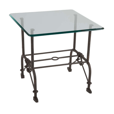 Patinated Steel Side Table in the Style of Giacometti
