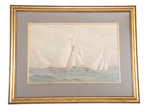 Set of Three Fred Cozzens Chromolithographs from The American Yacht Series