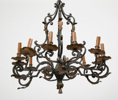 Twelve Light Italian 19th Century Wrought Iron Chandelier