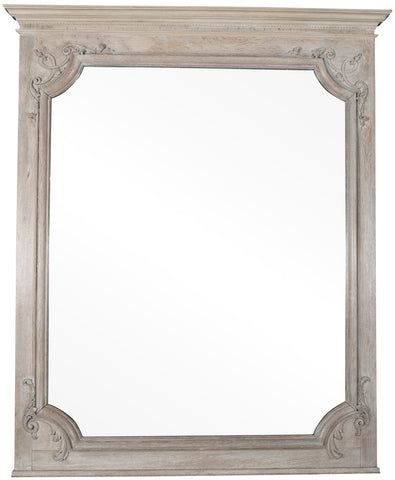 19th Century French Limed Oak Mirror with Beveled Glass