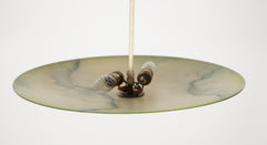Mid-Century Glass Disc Chandelier