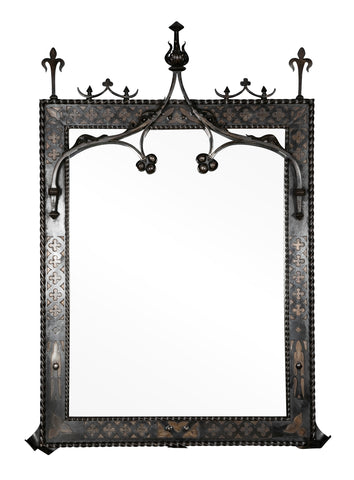 Late 19th Century French Wrought Iron Gothic Mirror