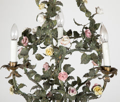 Italian Tole Leaf 4 Light Chandelier Adorned with Porcelain Flowers