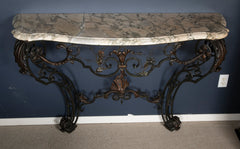 French Marble Top Wrought Iron Console