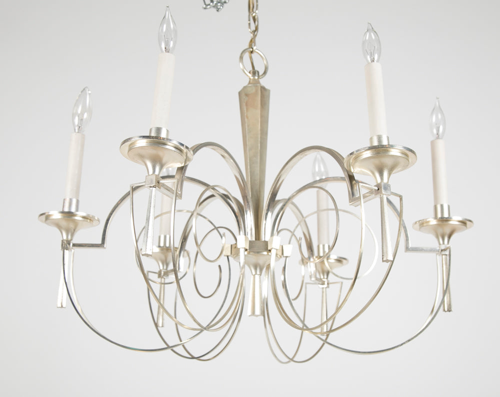 Silvered Brass Italian Chandelier by Gaetano Sciolari