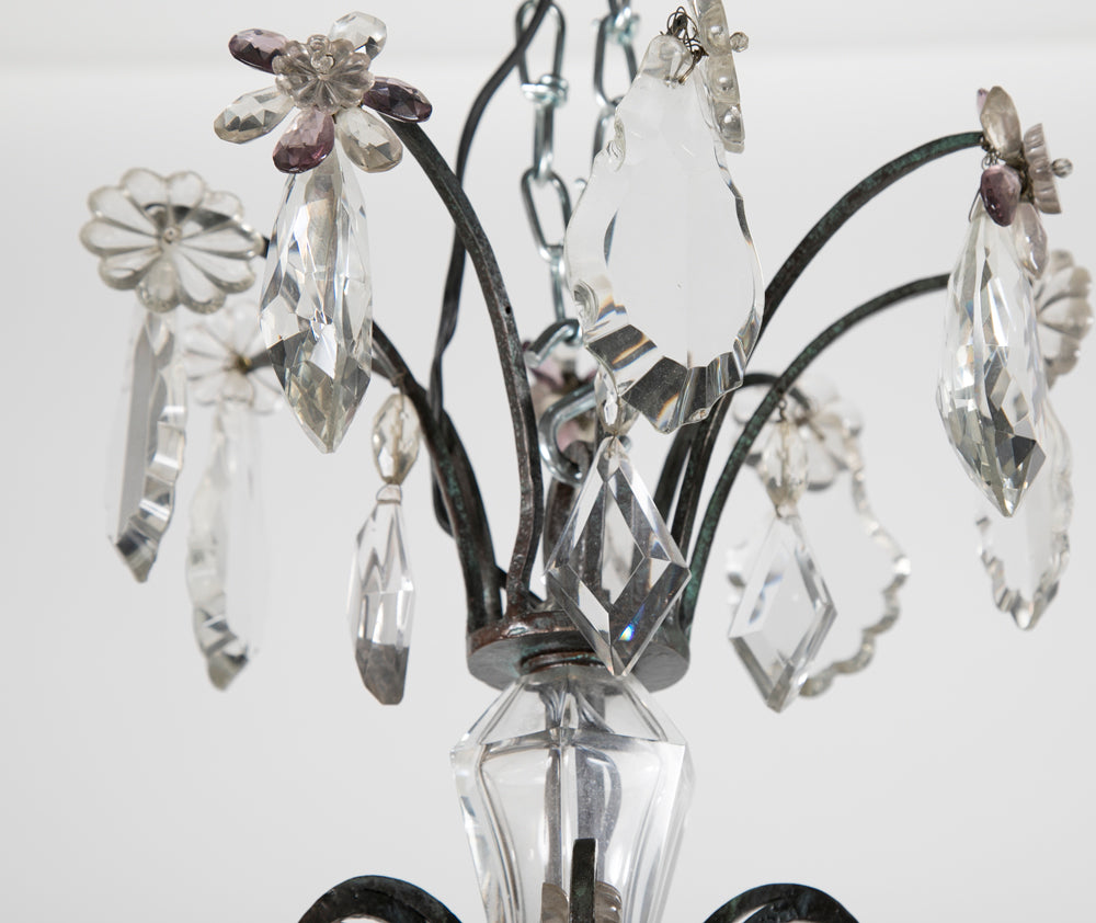 French Crystal & Wrought Iron Chandelier