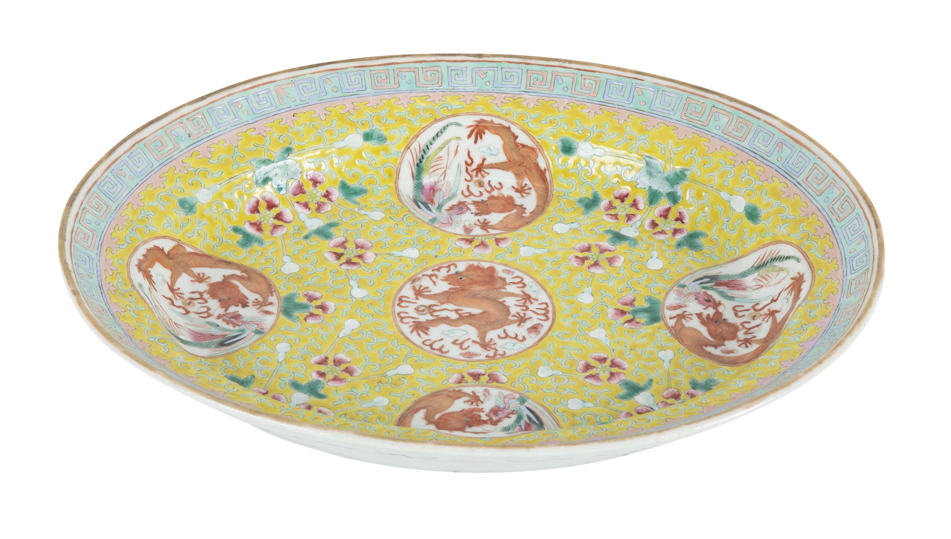 19th Century Chinese Yellow Ground Porcelain Platter