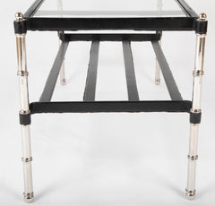 A Black Leather Wrapped and Chrome Jacques Adnet Glass Top Coffee Table