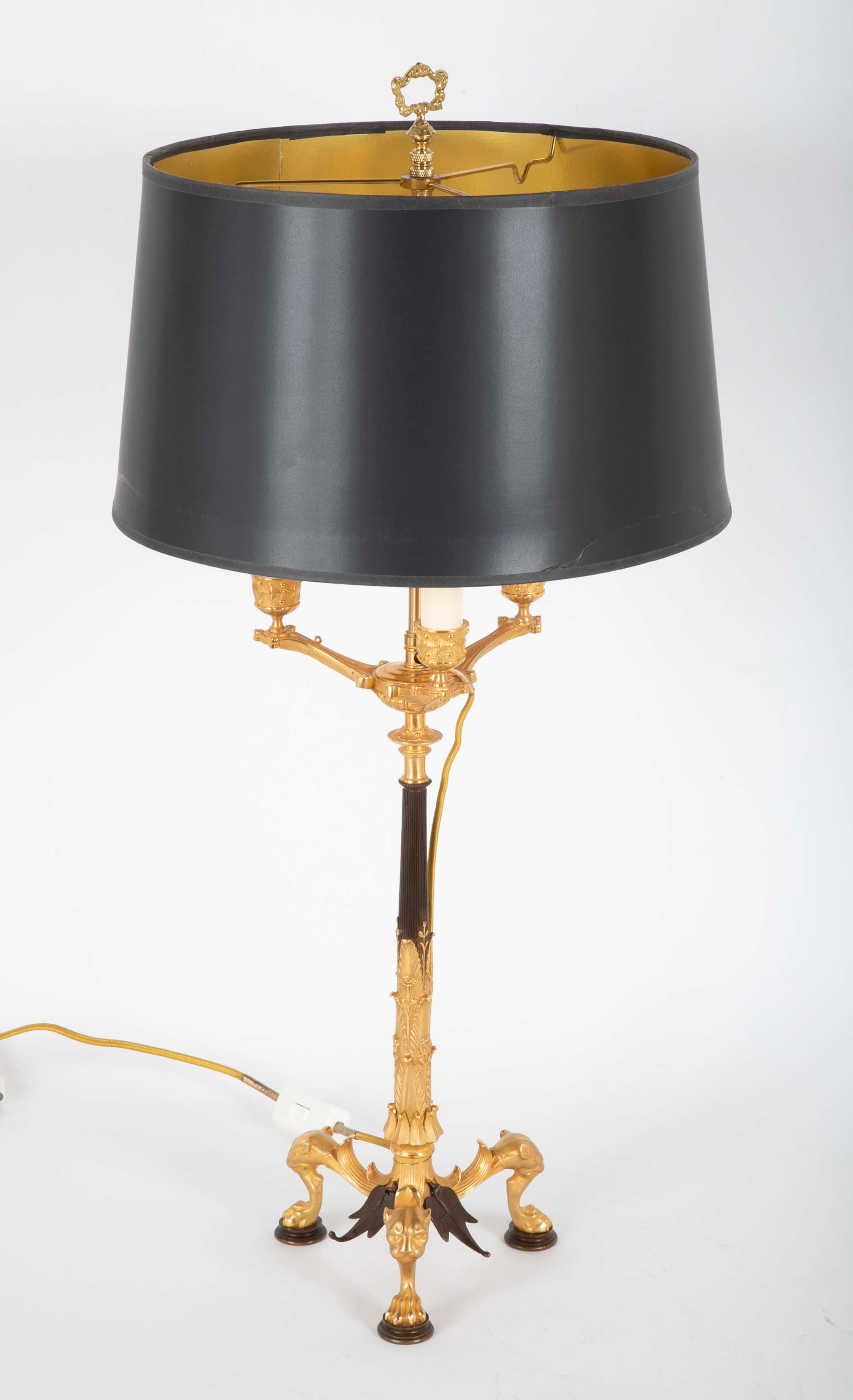 Pair of Fine French Directoire Bronze Lamps