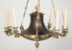 Empire Style Bronze and Patinated 3 Arm Chandelier